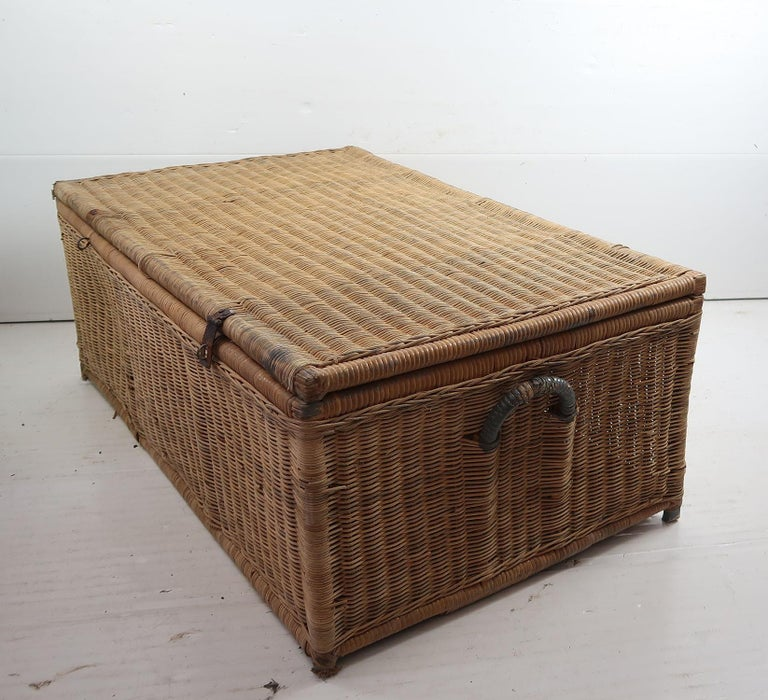 Other Antique Rattan Travelling Trunk, English 19th Century For Sale