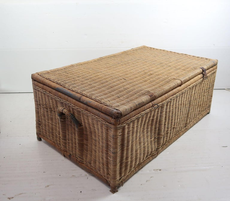 Antique Rattan Travelling Trunk, English 19th Century In Good Condition For Sale In St Annes, Lancashire