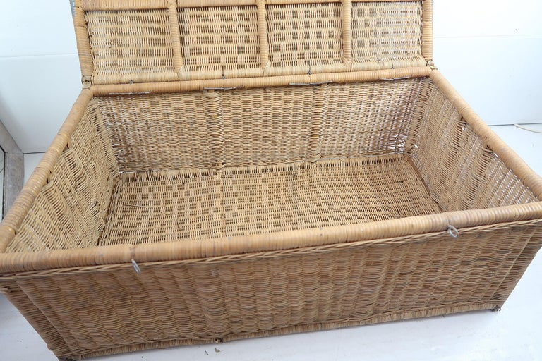 Antique Rattan Travelling Trunk, English 19th Century For Sale 1