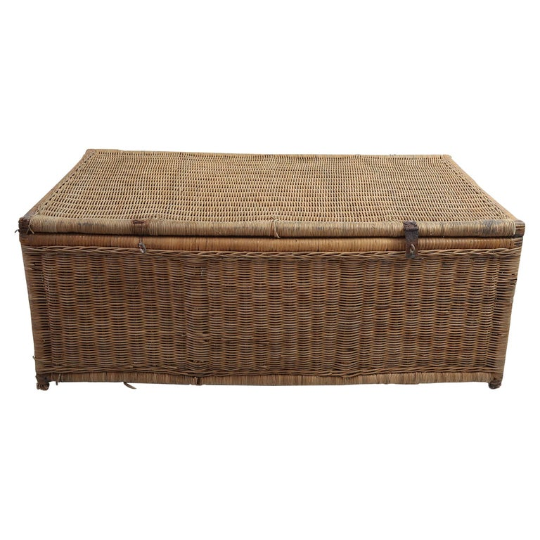 Antique Rattan Travelling Trunk, English 19th Century For Sale