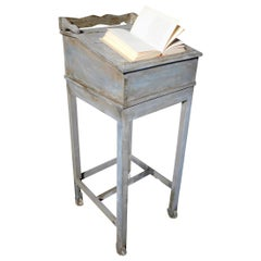 Antique Reading Desk Lectern in Gray Lacquered Wood, Inclined Drawer, 1900 Italy
