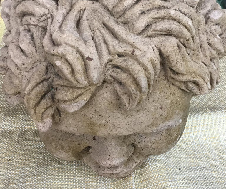 Antique Real Life Size Carved Sand Stone Cherub Head For Sale 3