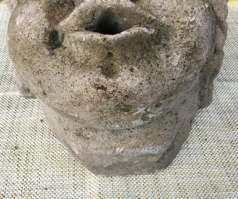 Antique Real Life Size Carved Sand Stone Cherub Head For Sale 5