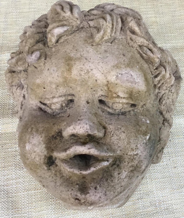 Antique Real Life Size Carved Sand Stone Cherub Head For Sale 6