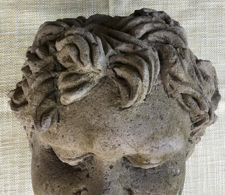 European Antique Real Life Size Carved Sand Stone Cherub Head For Sale