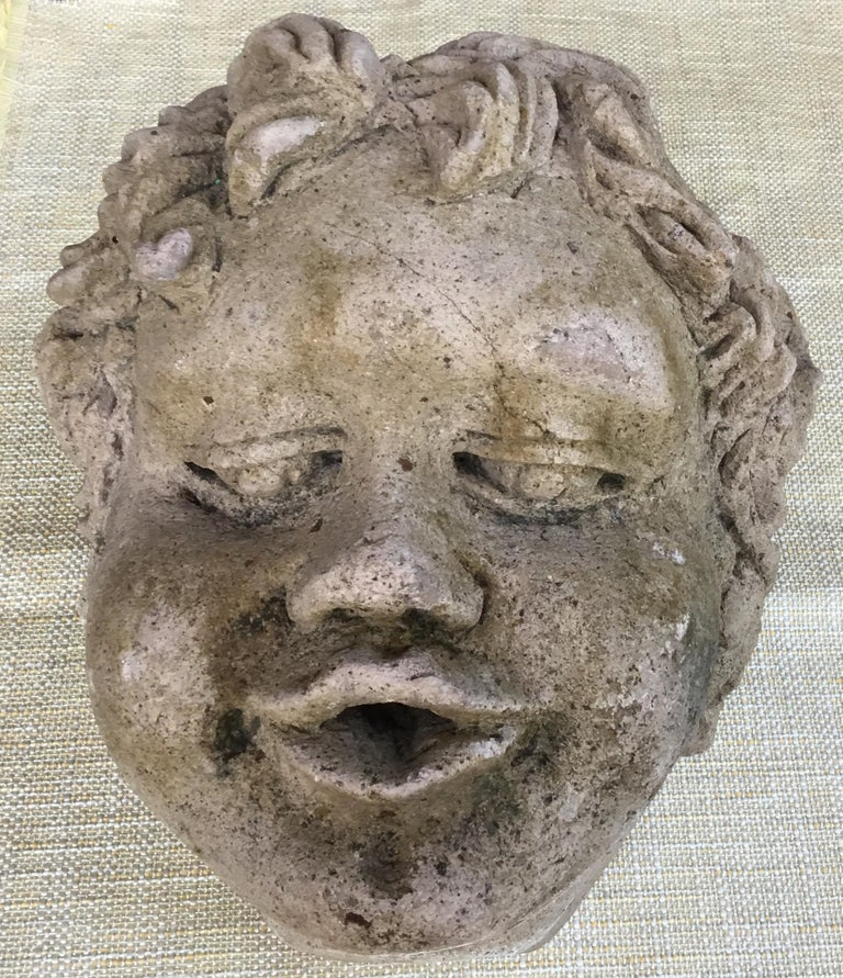 Hand-Carved Antique Real Life Size Carved Sand Stone Cherub Head For Sale