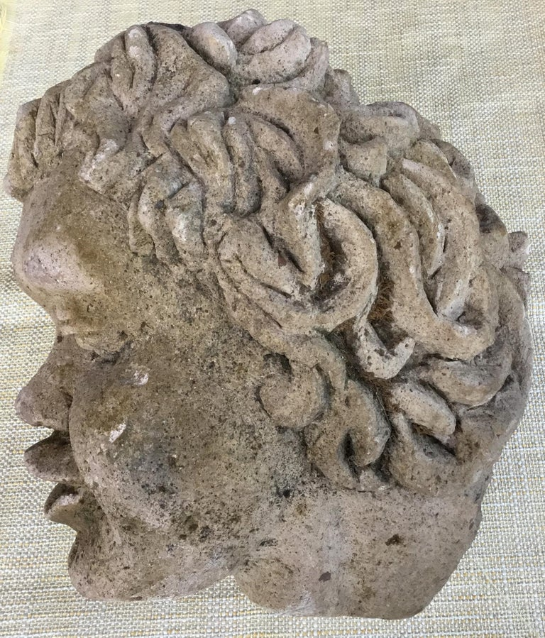 Antique Real Life Size Carved Sand Stone Cherub Head In Good Condition For Sale In Delray Beach, FL