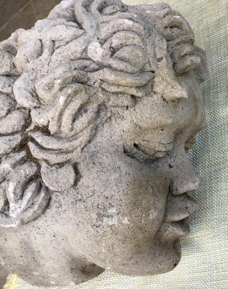 Sandstone Antique Real Life Size Carved Sand Stone Cherub Head For Sale