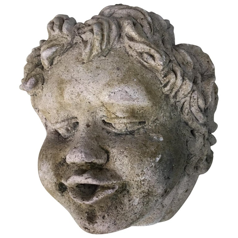 Antique Real Life Size Carved Sand Stone Cherub Head For Sale