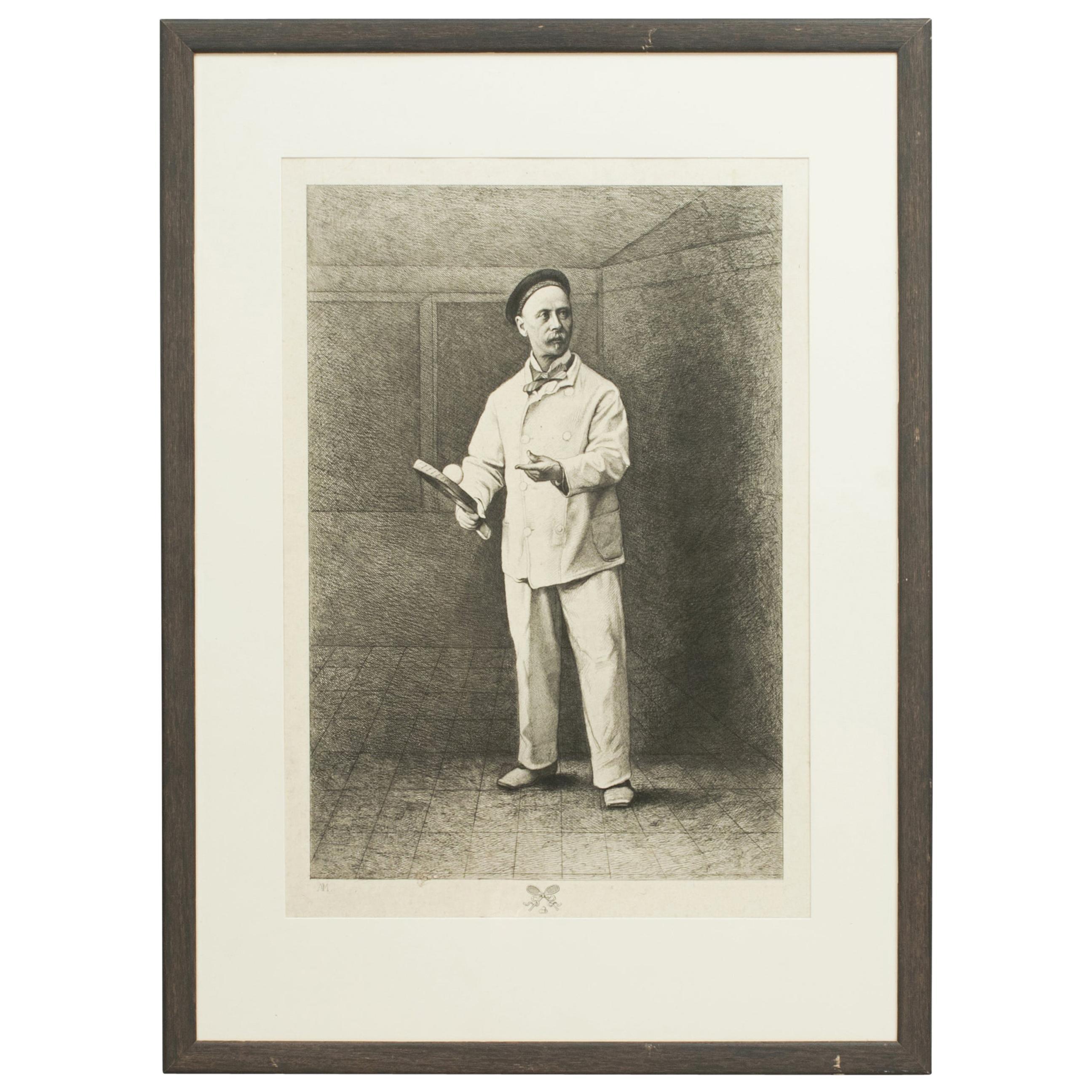 Antique Real Tennis Print, Charles Delahaye, Biboche