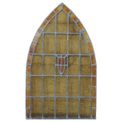 Antique Reclaimed Gothic Victorian Arched Stained Leaded Slag Glass Window