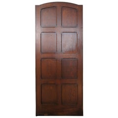 Antique Reclaimed Spanish Revival Solid Oak Arched Swinging Panel Door