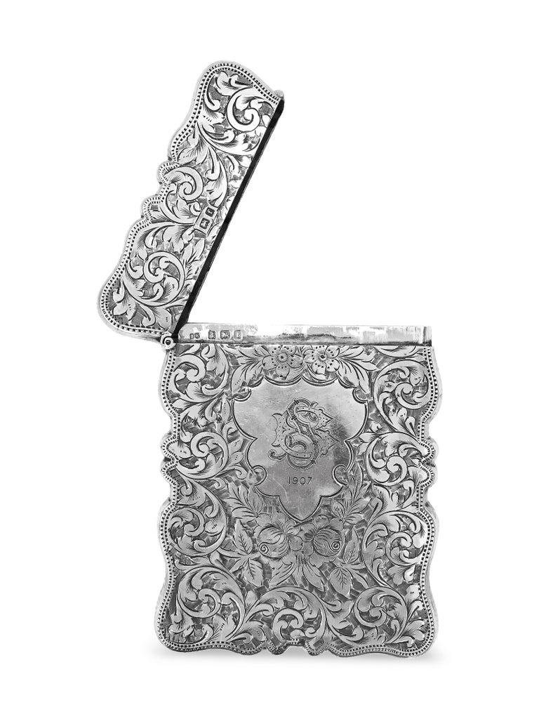 Art Deco Antique Rectangle Cigarette Box All Hand Engraved, Sterling Silver, England For Sale