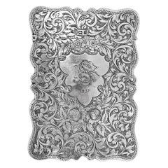 Antique Rectangle Cigarette Box All Hand Engraved, Sterling Silver, England