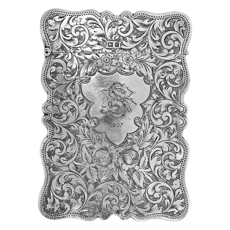 Antique Rectangle Cigarette Box All Hand Engraved, Sterling Silver, England For Sale