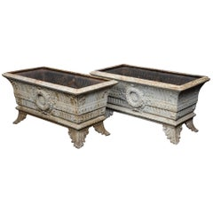 Antique Rectangular Cast Iron Planters, circa 1900