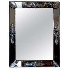 Antique Rectangular Louis XVI Style Venetian Glass Mirror