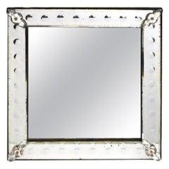 Antique Rectangular Venetian Etched Mirror, Ex-Collection Joan Rivers Estate
