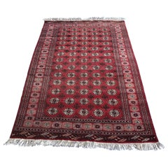 Antique Red Afghan Ersari Hand Knotted Turkoman Rug, circa 1920