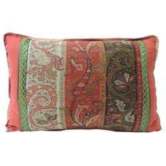 Antique Red and Black Kashmir Paisley Lumbar Decorative Pillow