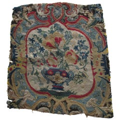 Antique Red and Blue Floral Petit Point Tapestry Fragment
