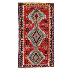 Antique Vintage Red White Blue Tribal Ghashgai Kilim Area Rug circa 1960s