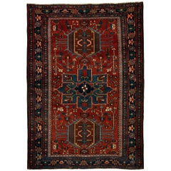 Antique Red and Blue Persian Heriz Rug