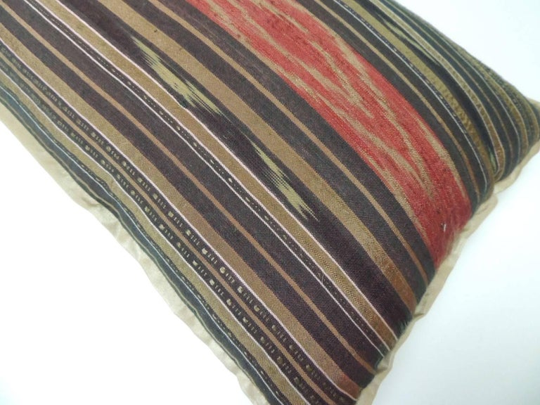 Tribal Vintage Red and Brown Silk Ikat Decorative Bolster Pillow For Sale