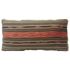 Antique Red and Brown Silk Ikat Decorative Bolster Pillow