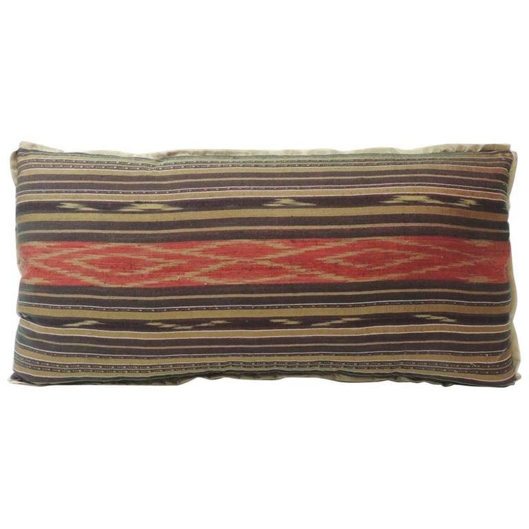 Vintage Red and Brown Silk Ikat Decorative Bolster Pillow For Sale