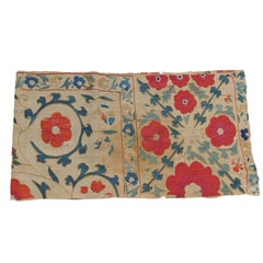 Antique Red and Green Floral Suzani Table Runner