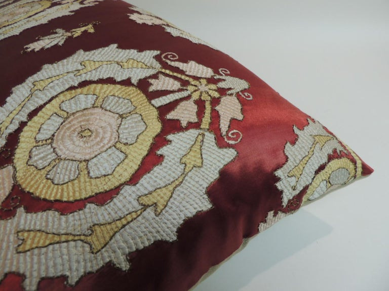 Turkish Antique Red and Green Silk Embroidered Applique Long Bolster Decorative Pillow For Sale