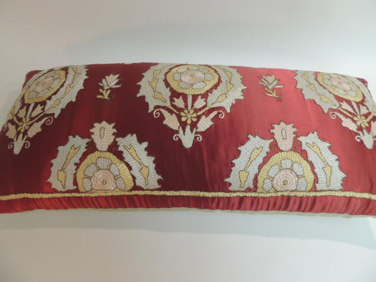 Hand-Crafted Antique Red and Green Silk Embroidered Applique Long Bolster Decorative Pillow For Sale