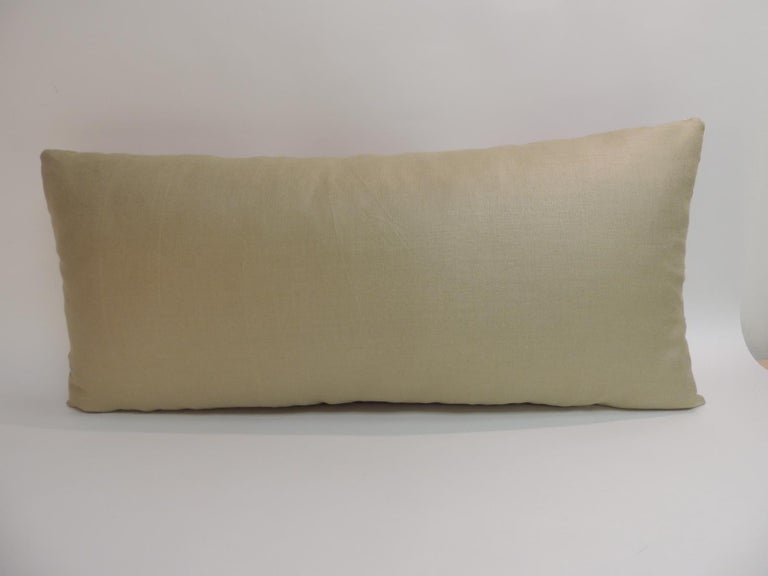 Antique Red and Green Silk Embroidered Applique Long Bolster Decorative Pillow In Good Condition For Sale In Oakland Park, FL