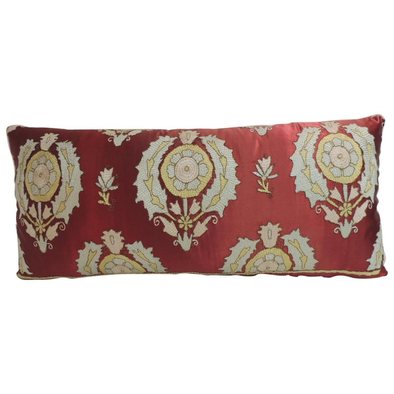 Antique Red and Green Silk Embroidered Applique Long Bolster Decorative Pillow For Sale