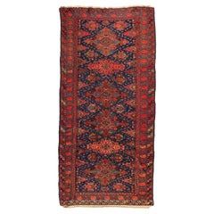 Antique Red and Navy Blue Geometric Tribal Caucasian Soumak Rug