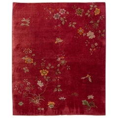 Antique Red Art Deco Chinese Handmade Wool Rug