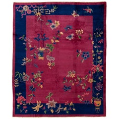 Antique Red Art Deco Chinese Wool Rug