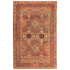 Antique Red Blue Cream Kerman Lavar Medallion Floral Wool Persian Rug