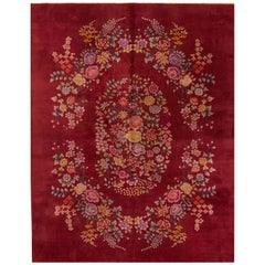 Antique Red Chinese Art Deco Rug