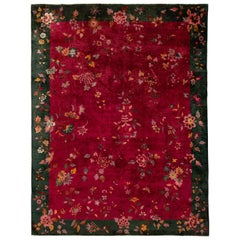 Antique Red Chinese Art Deco Wool Rug