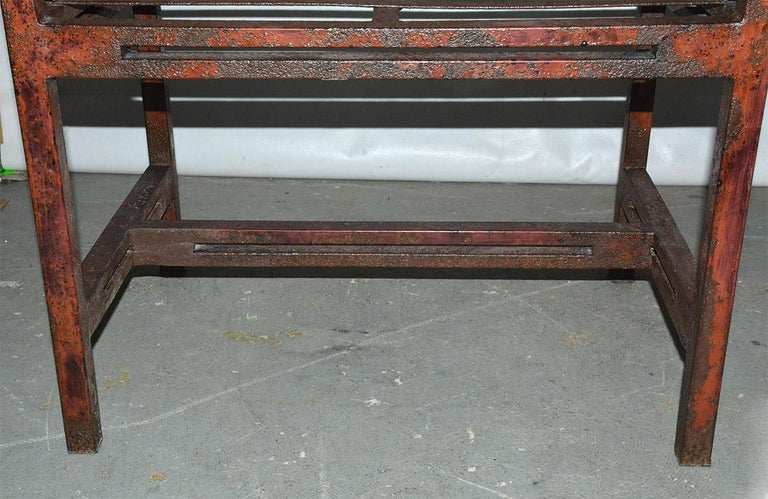 Antique Red Chinese Chippendale Style Iron Garden/Patio Chair For Sale 5