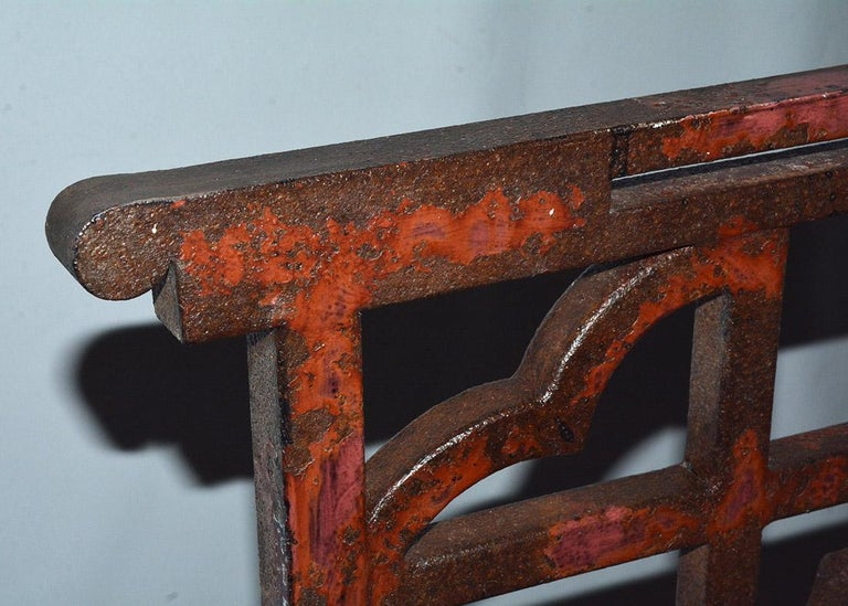 Antique Red Chinese Chippendale Style Iron Garden/Patio Chair For Sale 6