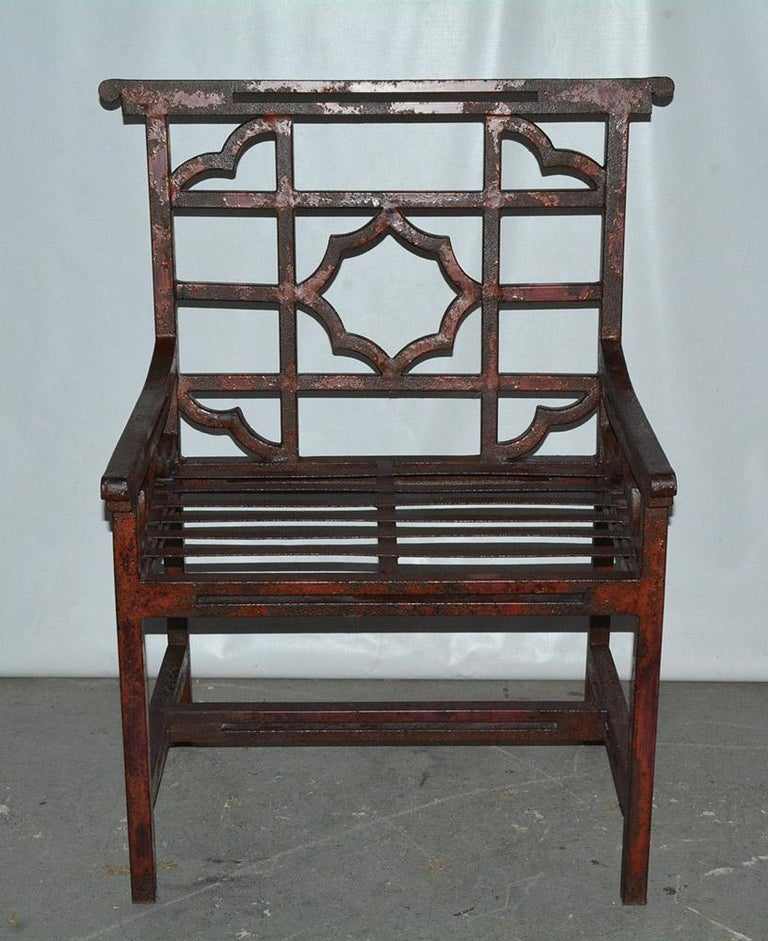 British Antique Red Chinese Chippendale Style Iron Garden/Patio Chair For Sale