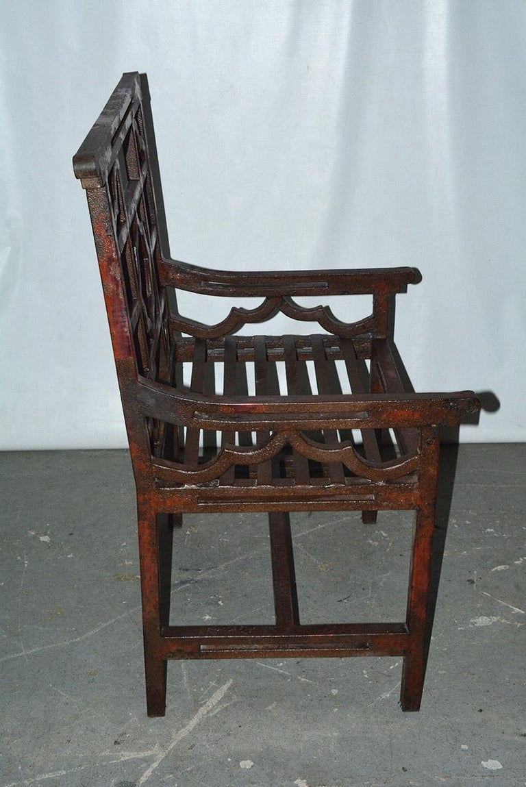 Hand-Crafted Antique Red Chinese Chippendale Style Iron Garden/Patio Chair For Sale