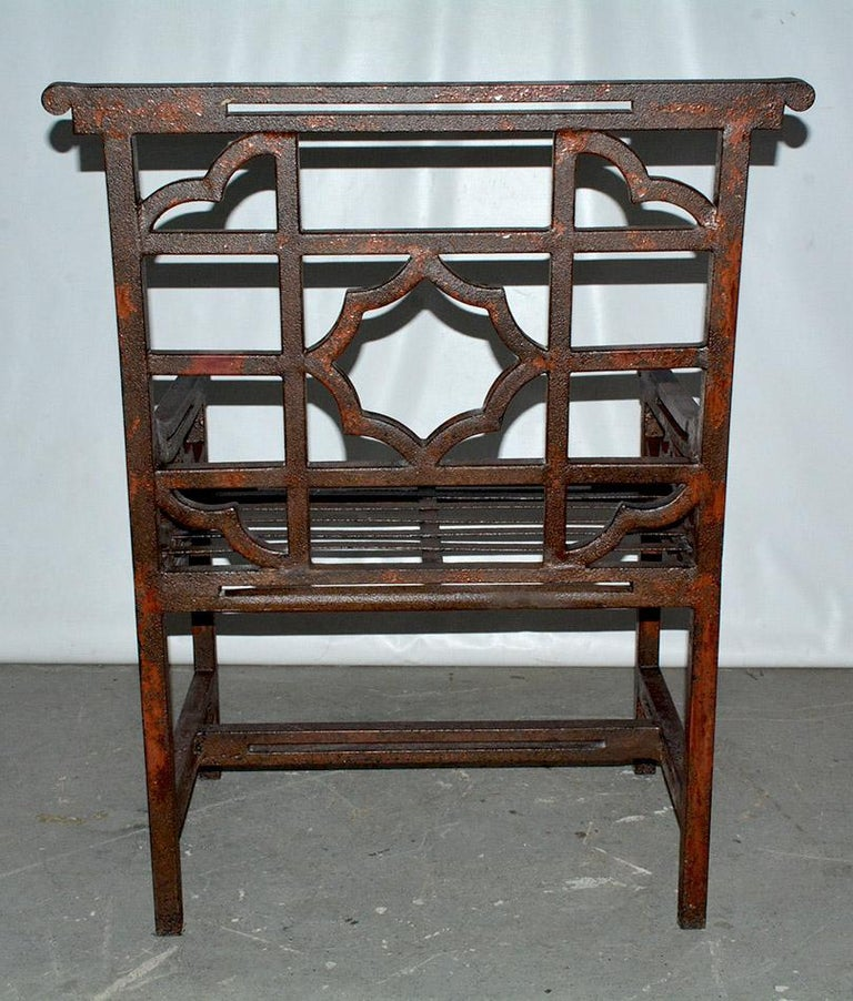 Antique Red Chinese Chippendale Style Iron Garden/Patio Chair In Good Condition For Sale In Great Barrington, MA
