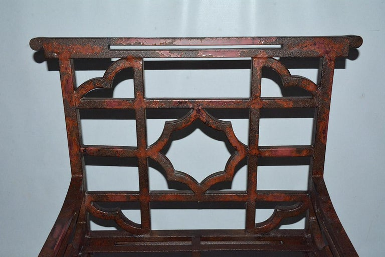 19th Century Antique Red Chinese Chippendale Style Iron Garden/Patio Chair For Sale