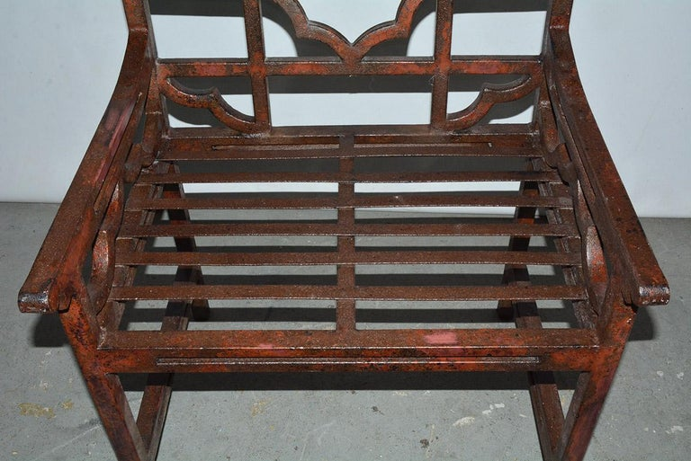Antique Red Chinese Chippendale Style Iron Garden/Patio Chair For Sale 1