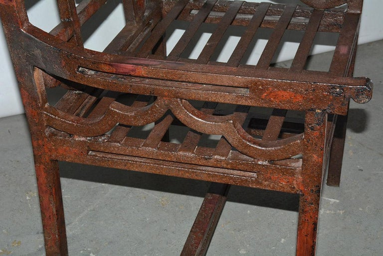Antique Red Chinese Chippendale Style Iron Garden/Patio Chair For Sale 2
