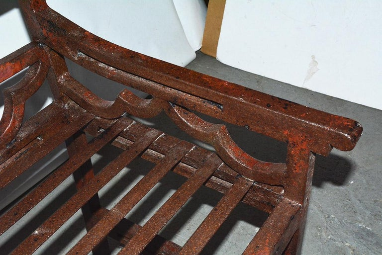 Antique Red Chinese Chippendale Style Iron Garden/Patio Chair For Sale 3